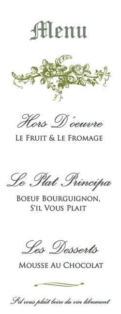 Bookclub menu