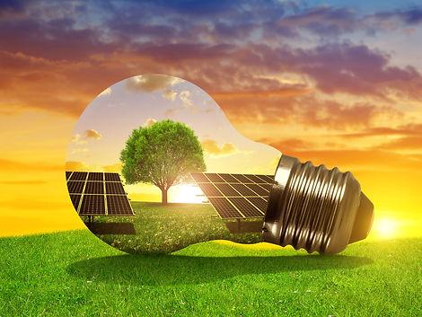Solar energy panels in light bulb at sun