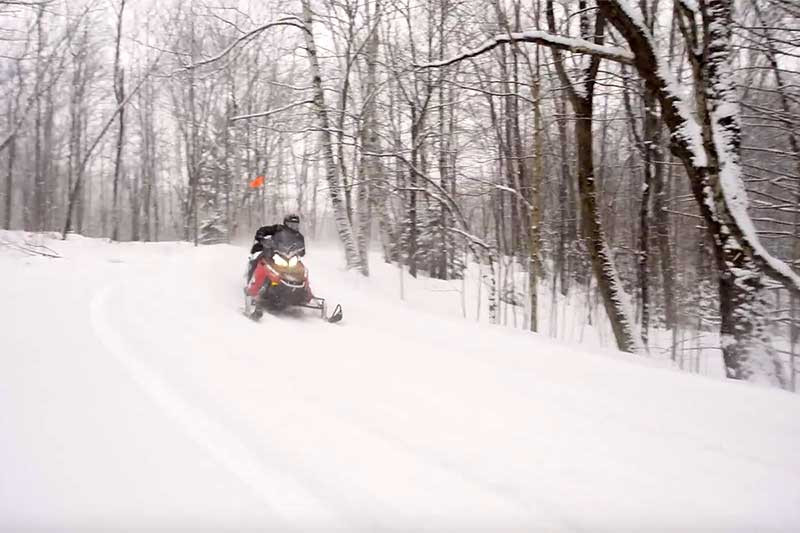snowmobiling on a snowy day