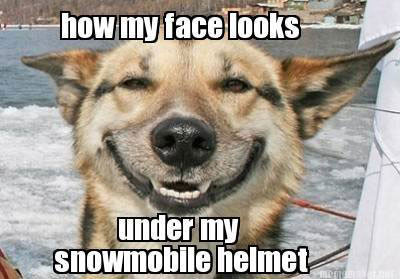 Meme of a smiling dog with the caption how my face looks under my snowmobile helmet