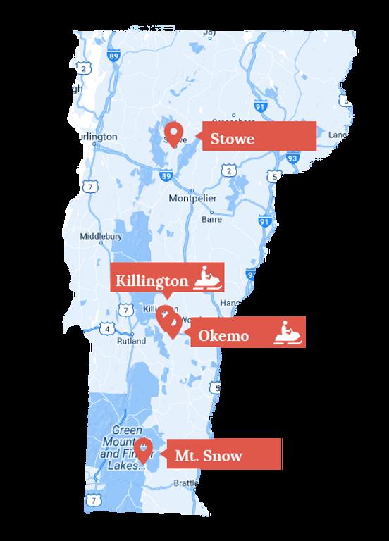 Snowmobile Vermont location map: Stowe, Killington, Okemo, Mt. Snow