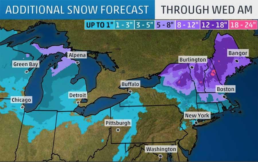 Snow forecast for February 12 & 13, 2019