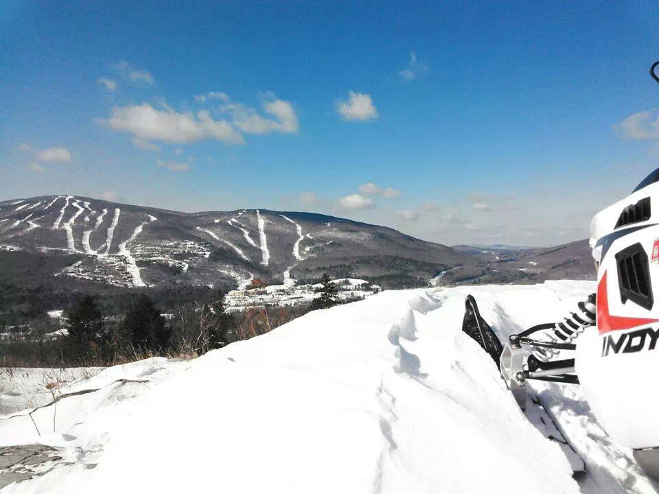 Spectacular mountain views on a Snowmobile Vermont tour