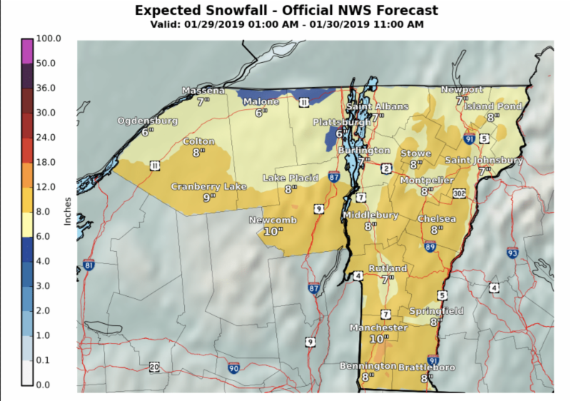Vermont snowfall forecast for January 29-30, 2019