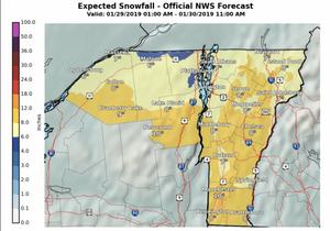 Vermont snowfall forecast for January 29-30, 2019