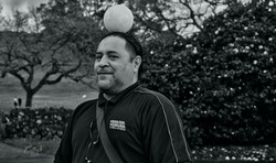 Man with a ball on his head 50mm Tokina