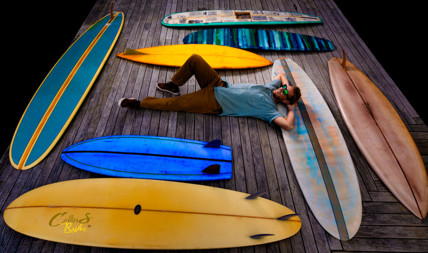 Daniel lie down with the surfboards TIFF