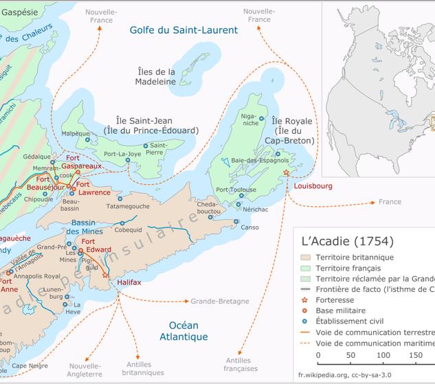 Carte historique Acadie 1754