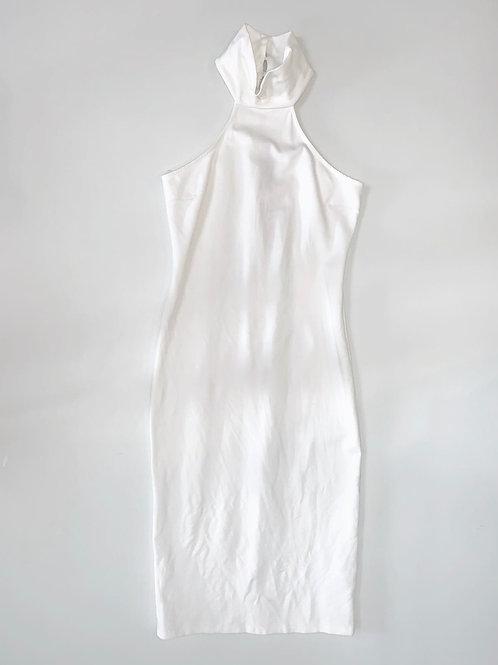White High Neck Bodycon Dress