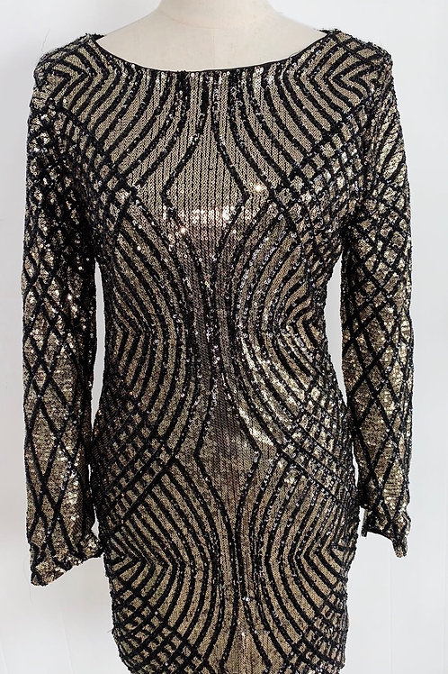 Black and Gold Sequin Party Dress