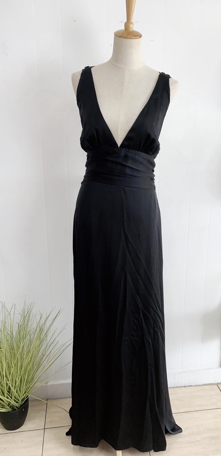 Black Satin Slip Gown