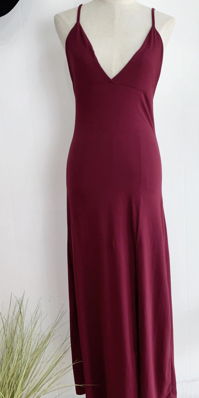 Maroon Side Split Maxi Dress