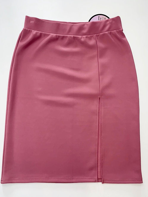 Mauve Pink High Side Split Pencil Skirt