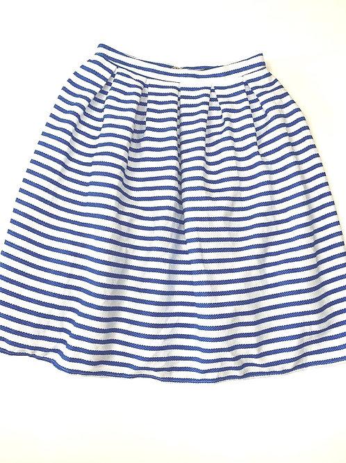 Blue and white striped midi skirt