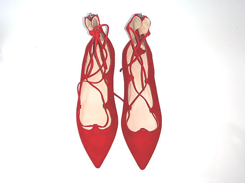 J Crew Red Lace Up Pointy Flats