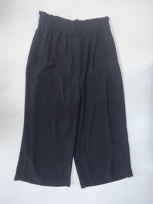 Black Paperbag Waist Cropped Pants