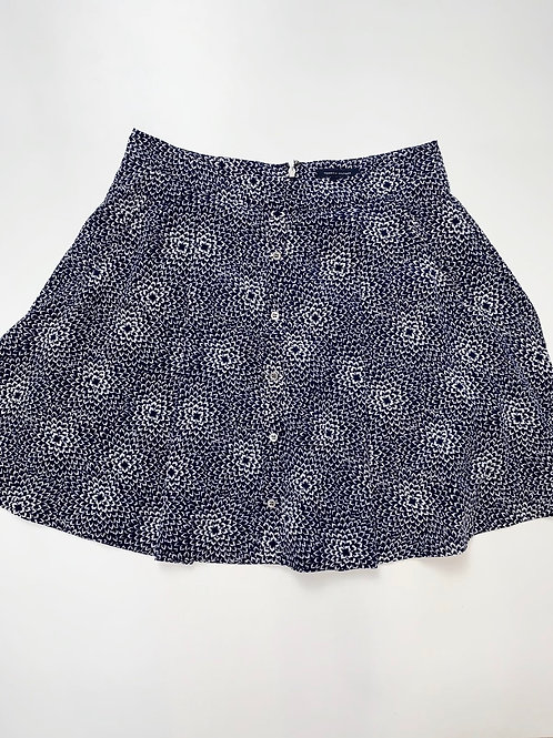 Navy Blue and White Prink Mini Skirt