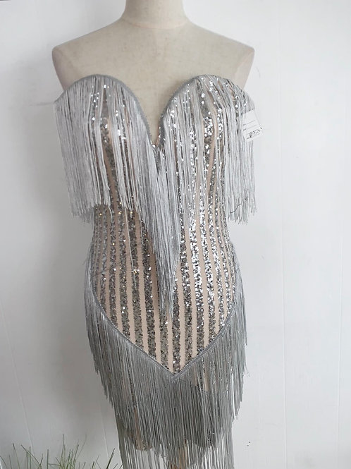 Silver and nude tassel party dress