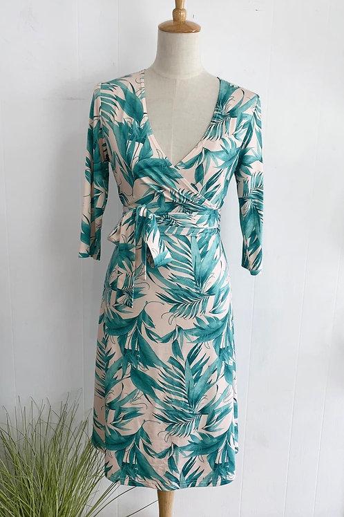 Tropical Print Faux Wrap Dress