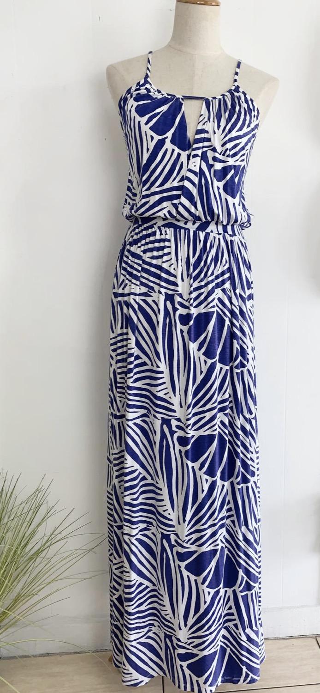Blue and White Print Maxi Dress