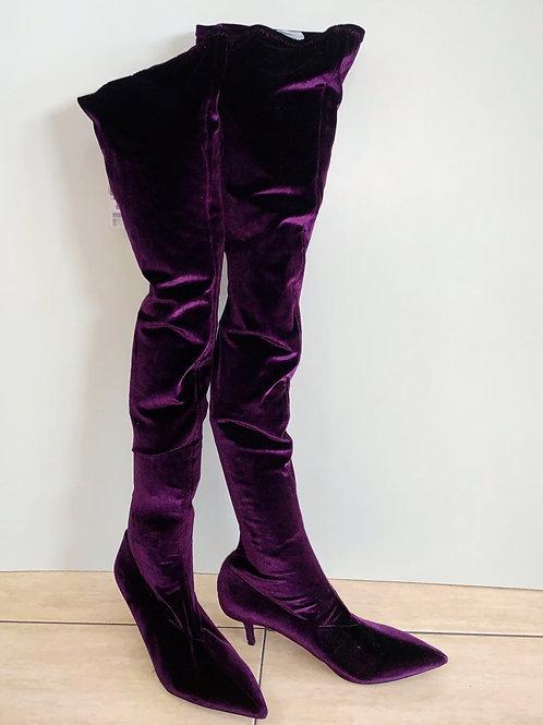 Zara Velvet Plumb Thigh High Boots