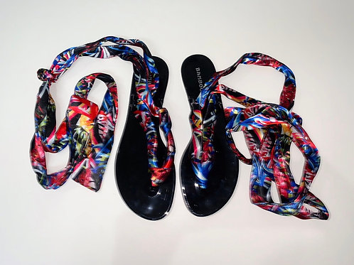 Tropical Print Strap Up Sandals