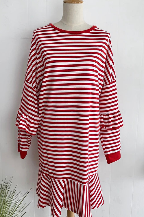 Red and white striped sweater dress