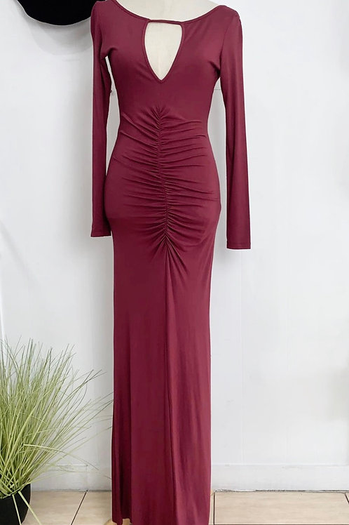 Maroon Maxi Dress with Back Cut Out