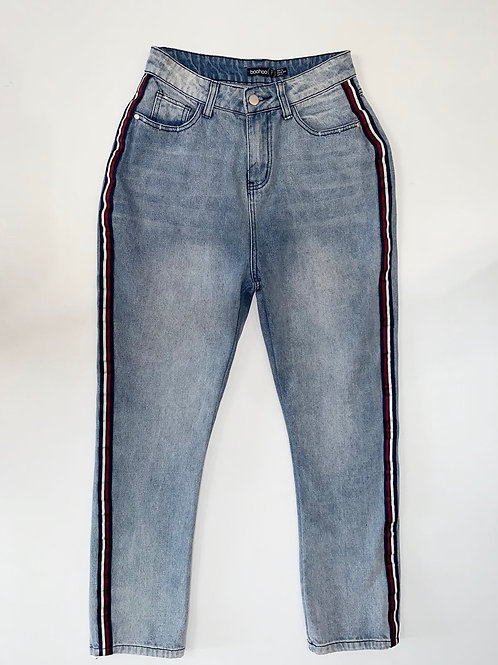 Petite Mom Jeans with striped sides
