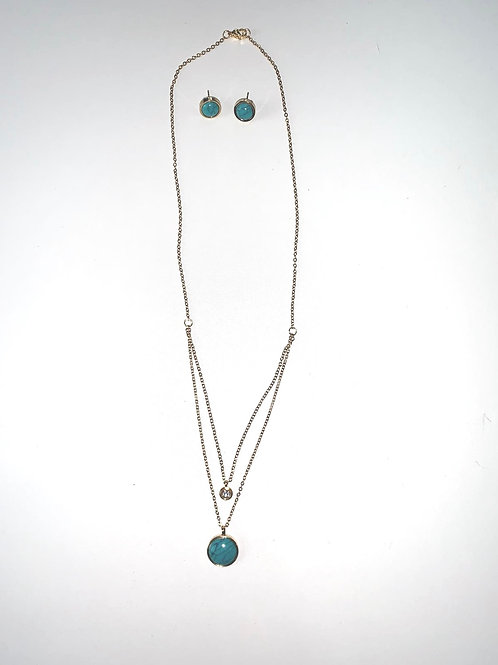 Aqua and Gold necklace set
