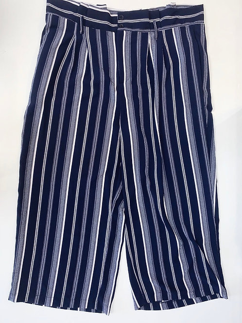 Navy Blue and White Striped Cropped Pants