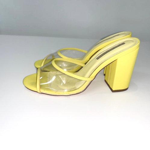 Neon Yellow Block Heel Slides