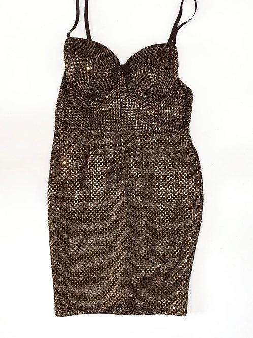 Gold and Black Metallic a Bodycon Dress