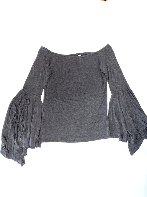 Exaggerated Sleeves Gray Blouse