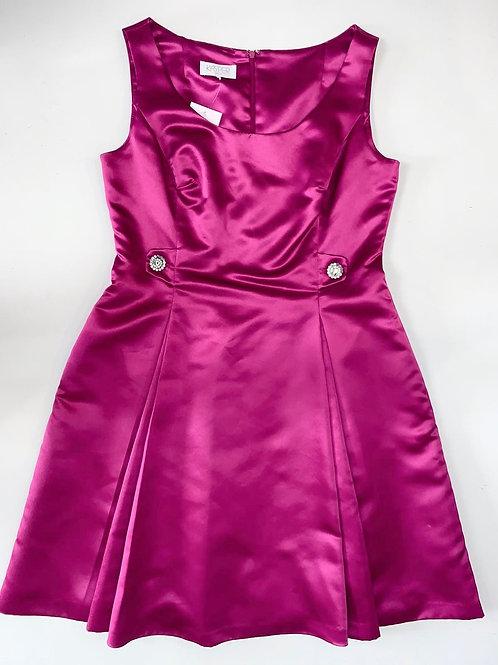 Magenta Pink Satin Dress