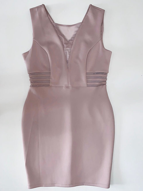 Dusty Pink Sheer Panel Dress