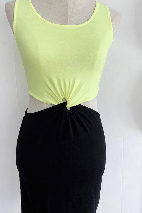 Neon green and black Bodycon dress