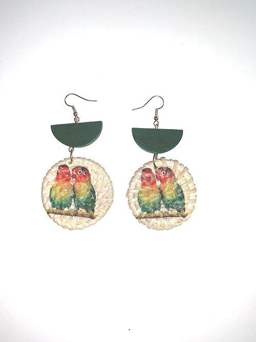 Straw Parrot Earrings