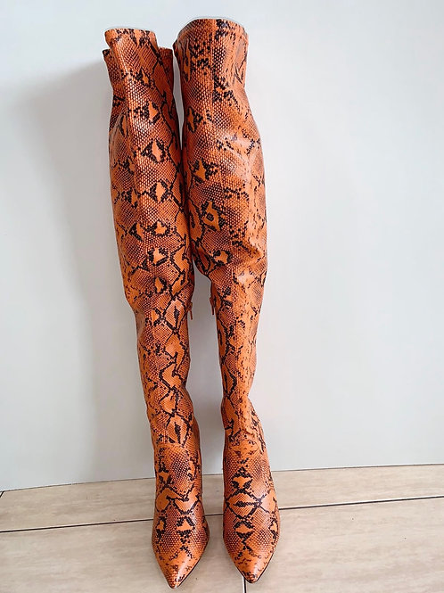 Orange and Black Snake Print Thigh High Boots