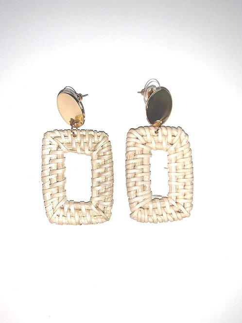 Straw Square Earrings