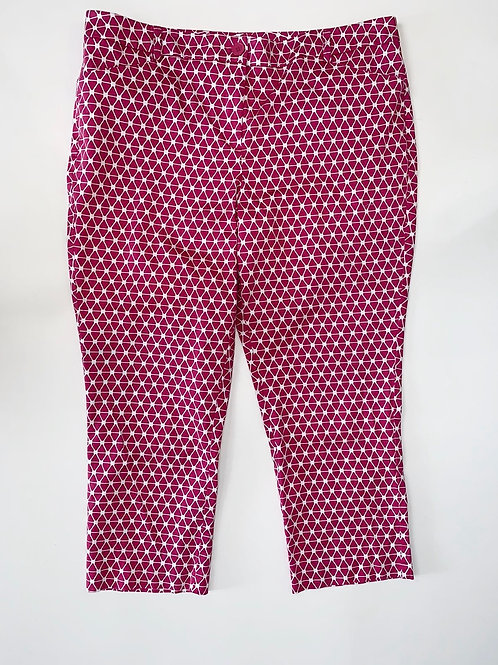 Pink and White Print Cropped Pencil Pants