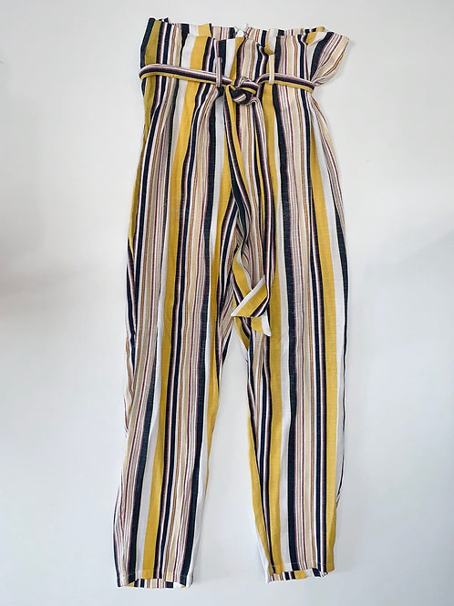 Striped Paperbag Waist cropped Pants