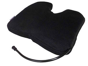 Infinitely adjustable dynamic self inflating seat cushion coccyx cut out