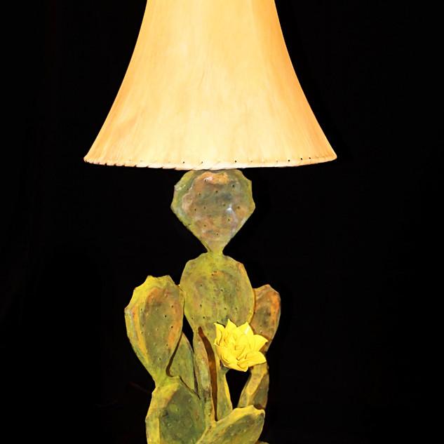 Small Lamp Patina Yellow Blooms