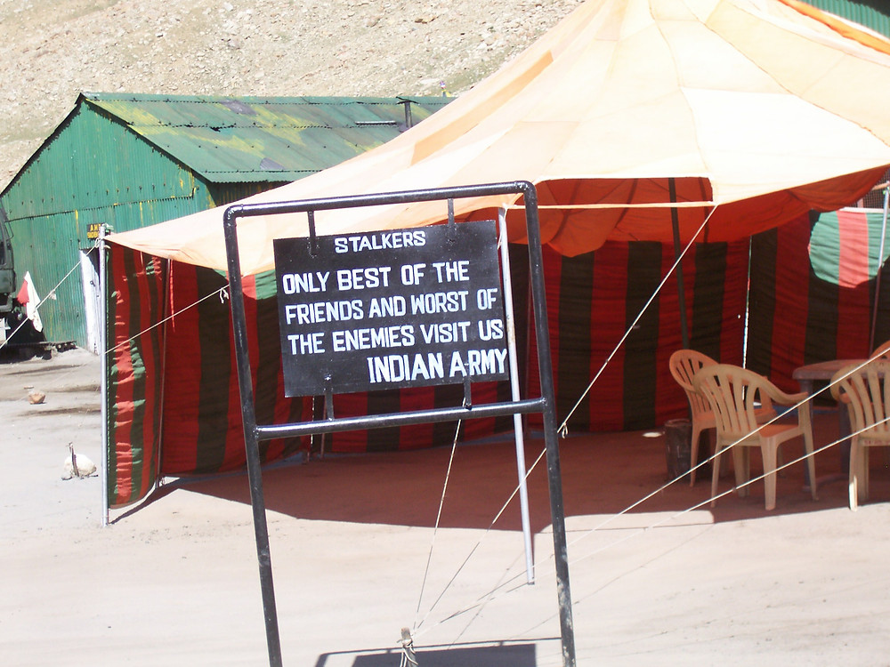 Sign Board at Army Camp, Khardung La