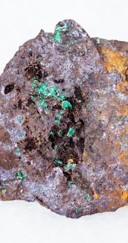 cuprite-and-malachite-in-limonite-stone-on-white-K4BAE6N.jpg