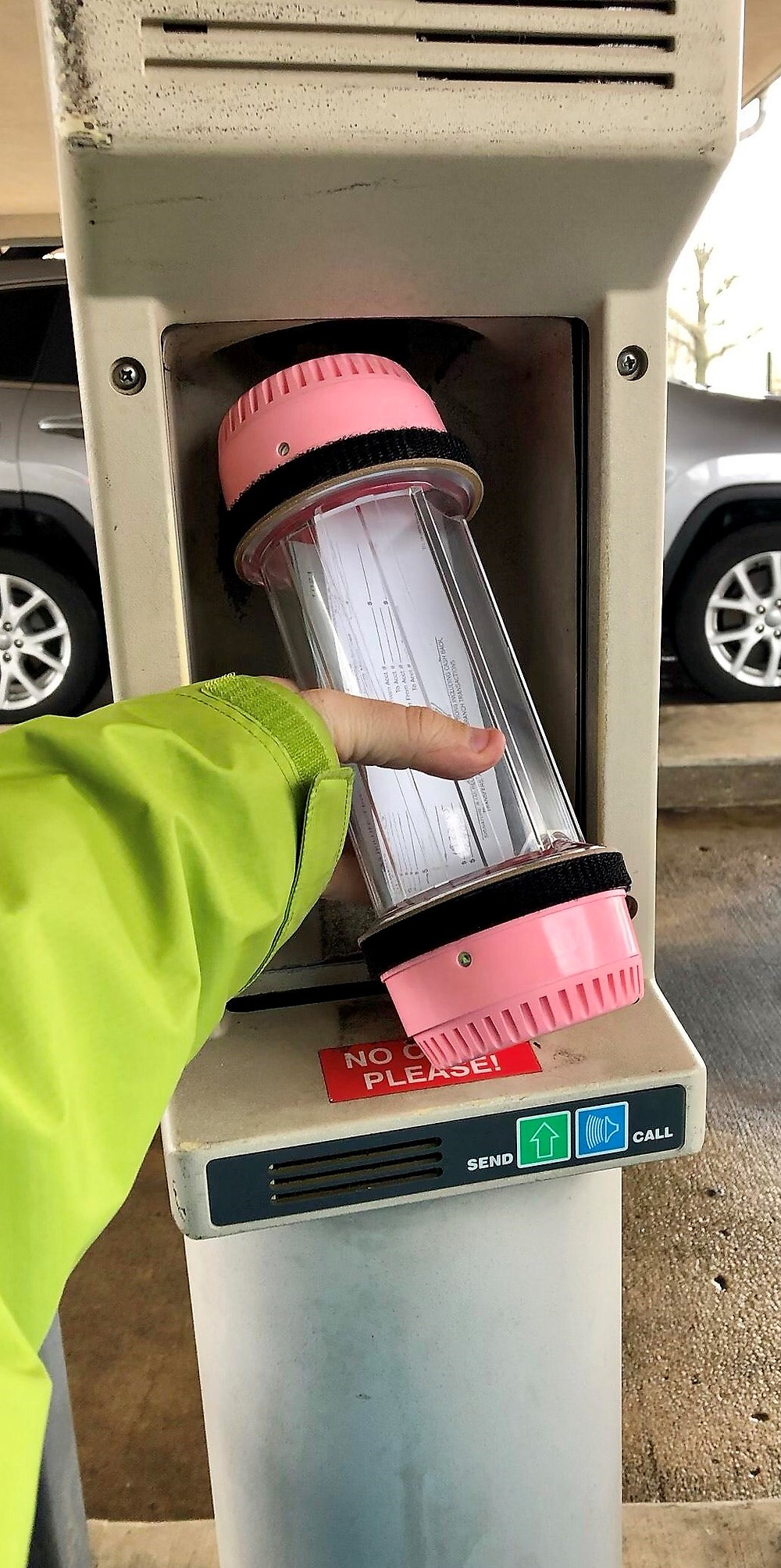 This is not me, it's just a random picture I found online as an example of the bank drive-thru.