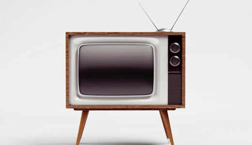 Old fashioned TV with rabbit ear antenna...