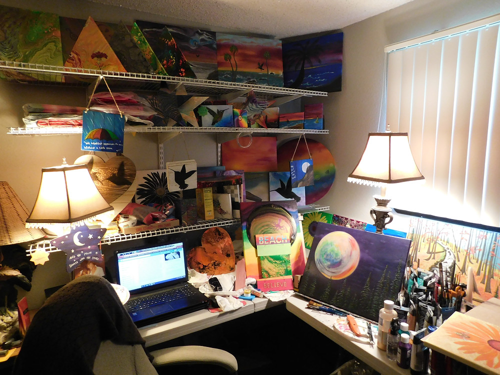 My art studio room... My escape from the real world... & Yet, I am only a few feet away when my sweetie needs me.