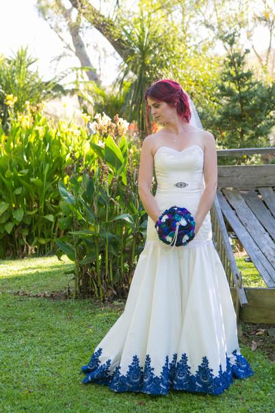 White and blue silk wedding dress